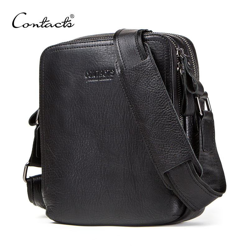 CONTACT'S genuine leather men's bag for ipad male messenger bags casual man shoulder bag crossbody bags for men bolso hombre-in Crossbody Bags from Luggage & Bags    1