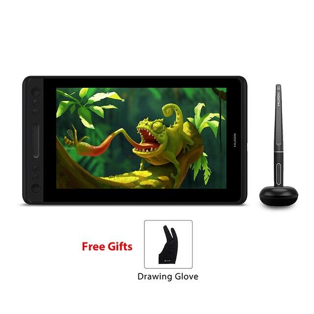 HUION Kamvas Pro 12 GT 116 bateria darmowy długopis Tablet Monitor Tilt wsparcie rysunek graficzny Monitor pióra 11.6 cala z rękawicą