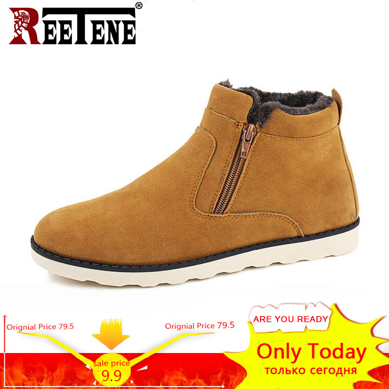 REETENE Winter Boots Men 2018 Warm Snow Boots Men Casual Snow Boots Men Plush Zipper Winter Shoes Men Slip On Fur Male Shoes plush casual suede shoes boots mens flat with winter comfortable warm men travel shoes patchwork male zapatos hombre sg083