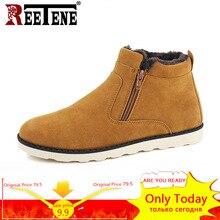 REETENE/зимние ботинки для мужчин, коллекция 2018 года, теплые зимние ботинки для мужчин, повседневные зимние ботинки для мужчин, плюшевые зимние ботинки на молнии, мужские слипоны на меху, мужская обувь