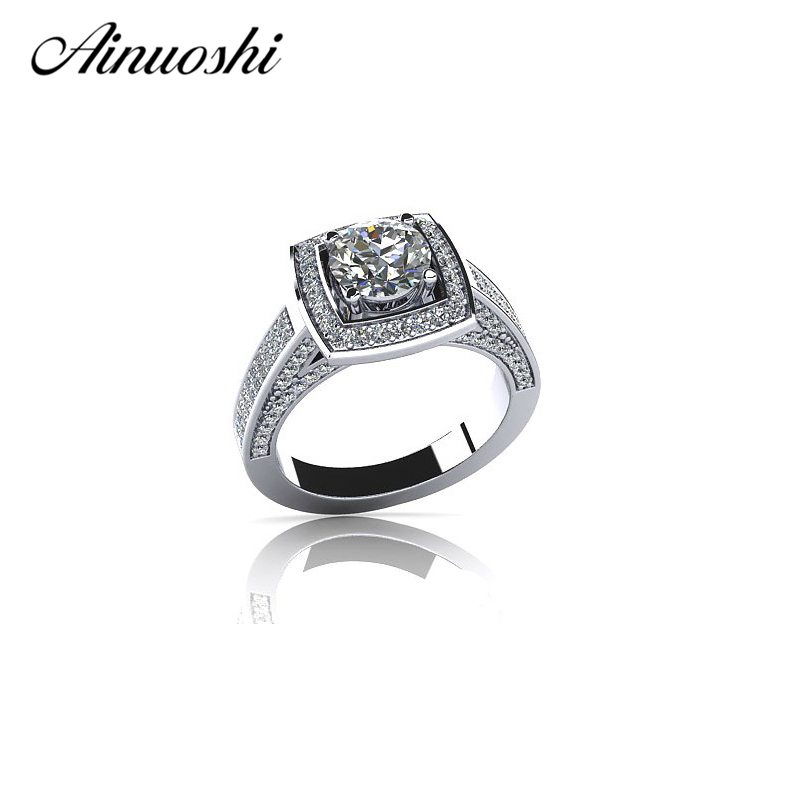 Женское Обручальное Кольцо AINOUSHI, обручальное кольцо из стерлингового серебра 925 пробы на годовщину, ювелирное изделие для влюбленных, ювели