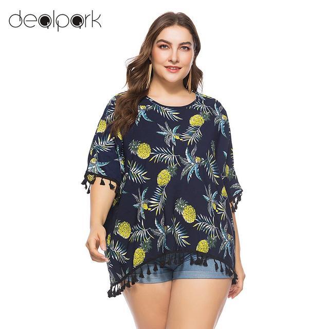 f3d87ddea1d Womens Tops and Blouses Plus Size Chiffon Blouse Pineapple Print Tassels  Fringed Casual tunics Loose Shirt