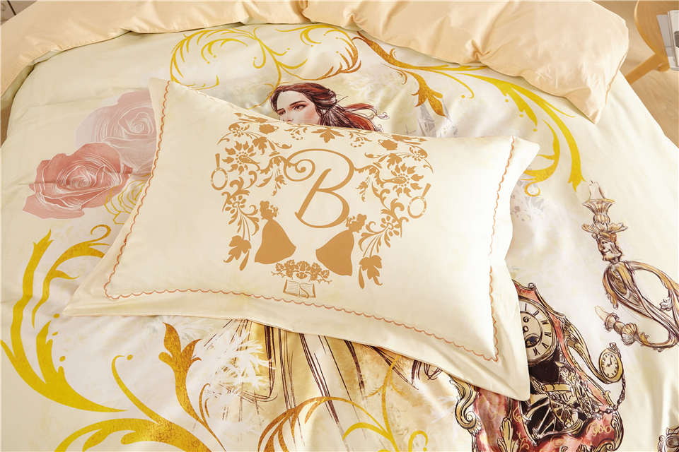 Disney Beauty And The Beast Belle Princess Bedding Sets For Girls Home Decor 600tc Cotton Bed Cover Single Twin Full Queen Size Buy At Price Of 72 09 In Aliexpress Com
