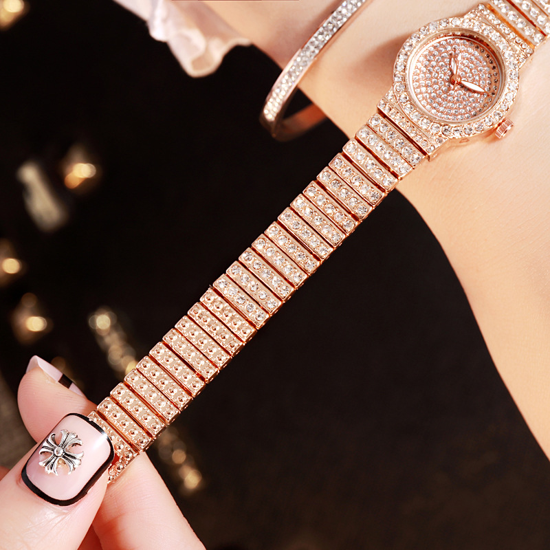 Luxury Crystal Women Quartz Wristwatches Gold Steel Belt Small Watch Fashion Starry Diamond Ladies Clock relogio feminino 2019 in Women 39 s Watches from Watches