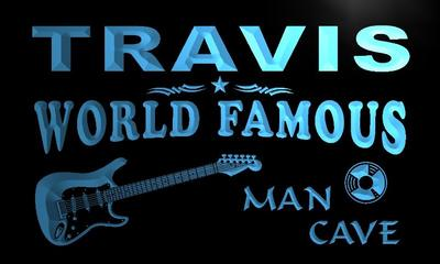 x0120-tm Travis Man Cave Guitar Lounge Custom Personalized Name Neon Sign Wholesale Dropshipping On/Off Switch 7 Colors DHL