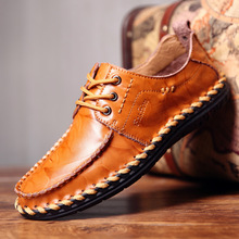 BACKCAMEL Leather Shoes Mens British Business Manual Casual Lazy Spring Autumn Breathable Size 38-44