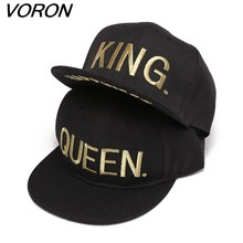 bacaf64ee0e VORON KING QUEEN Gold letters Embroidery Snapback Hats Flat Bill Trucker  Hats Acrylic Men Women Gifts