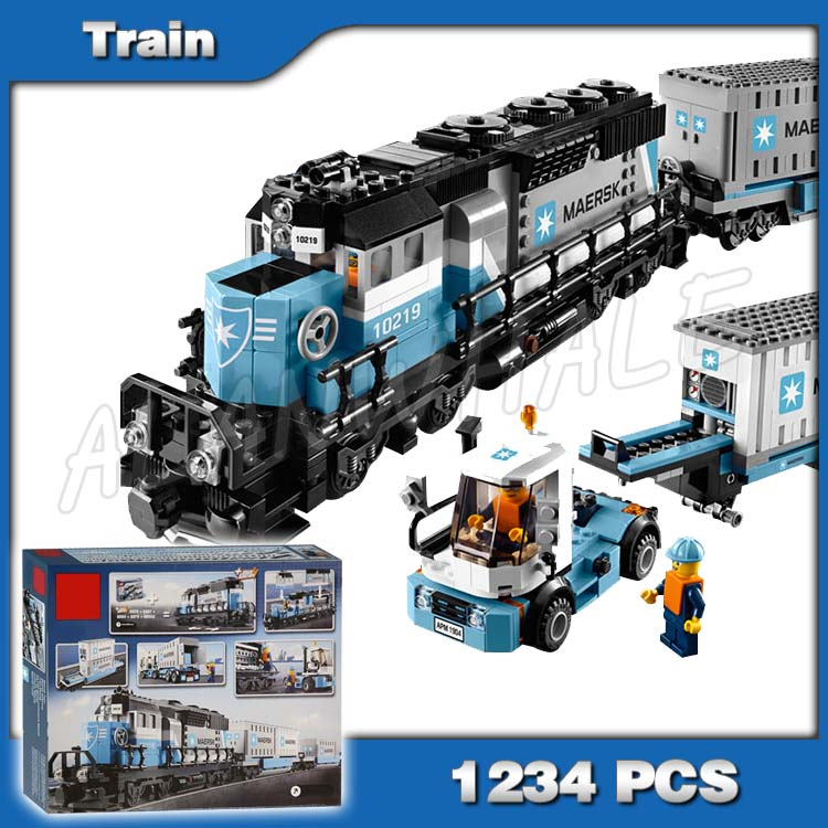 1234pcs Creator Maersk Trains Freight Cargo Locomotive <font><b>21006</b></font> Classical DIY Model Building Kit Blocks Toys Compatible with Lego image