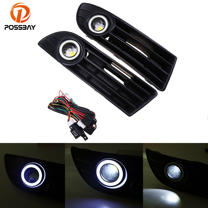 POSSBAY LED Fog Lights Angel Eyes Lamp Car Front Bumper Grille Grill Cover With Wire Kit for VW Polo MK4 9N3 2005-2009 Facelift for vw golf gti tdi r32 mk4 1998 2004 front bumper grill with led angel eyes fog lights switch wiring kit 9443