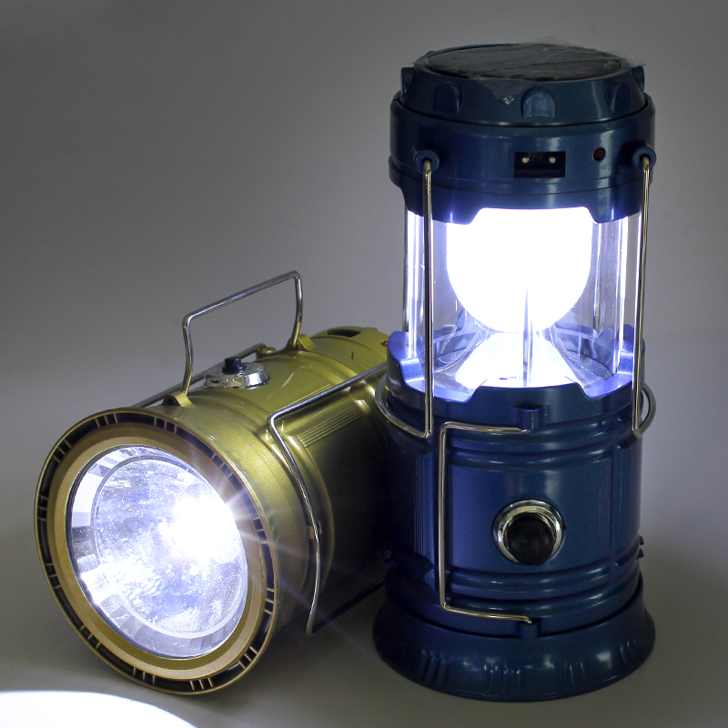 Outdoor 6LEDs Rechargeable Hand Lamp Portable Lanterns Solar Camping Lantern Light Hiking Solar USB Lighting EU Plug Flashlight