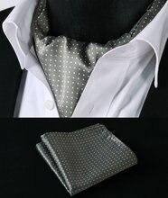 RD103W Khaki Weiß Polka Dot Silk Halstuch Gewebt Ascot Krawatte Einstecktuch Einstecktuch Suit Set