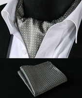 RD103W Khaki White Polka Dot Silk Cravat Woven Ascot Tie Pocket Square Handkerchief Suit Set