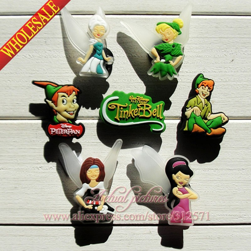 Free Shipping 14pcs/lot Thinker Bell & Peter Pan PVC shoe charms/shoes decoration/shoe accesories Kid's gift,party gift