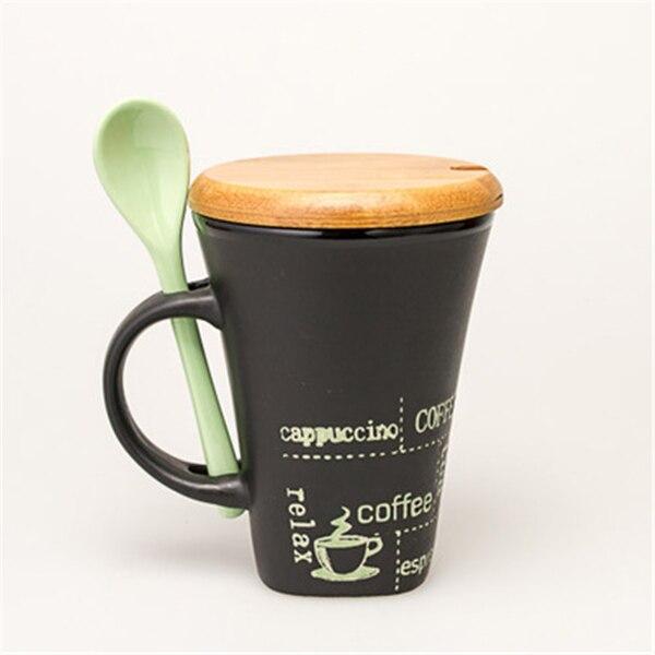 Wonderland Blue Yellow Red European Tall Fashion Ceramic Mug Coffee Cup Porcelain Teacup Spoon Bamboo Lid