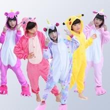 Купить с кэшбэком Flannel Children Pajamas Set Winter Hooded Animal Unicorn Stitch Kids Pajamas For Boys Girls Sleepwear Onesies for 4 6 8 10 12 Y