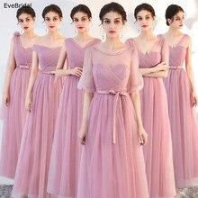 Купить с кэшбэком New Pink Silver A Line Lace Sashes Floor Length Bridesmaid Dresses Wedding Party Dress Size 4 6 8 10 12