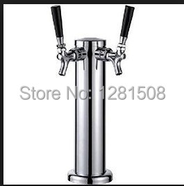 New brass beer and wine bar Two taps Beer tower Chrome Double Stainless Steel Tower Beer Tap Duel Faucet Draft Keg Kegerator NEW