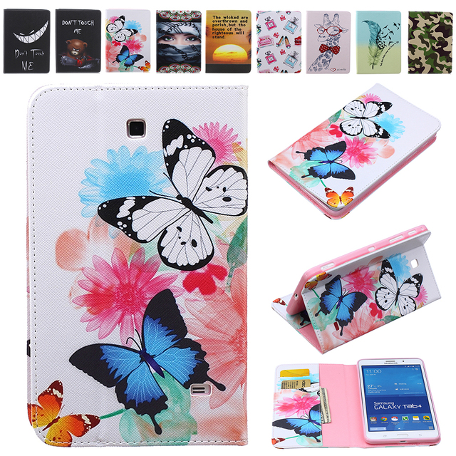 New Printed Cartoon Owl Butterful Folio PU Standing Case For Samsung Galaxy Tab 4 7.0 T230 T231 SM-T230NU SM-T235 Flip Coque