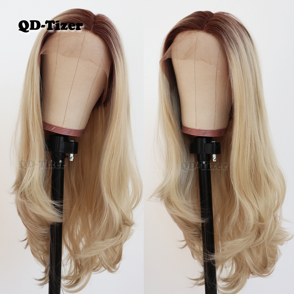 QD Tizer Natural Wavy Hair Blonde Ombre Long Lace Wigs Glueless Heat Resistant Synthetic Lace Front