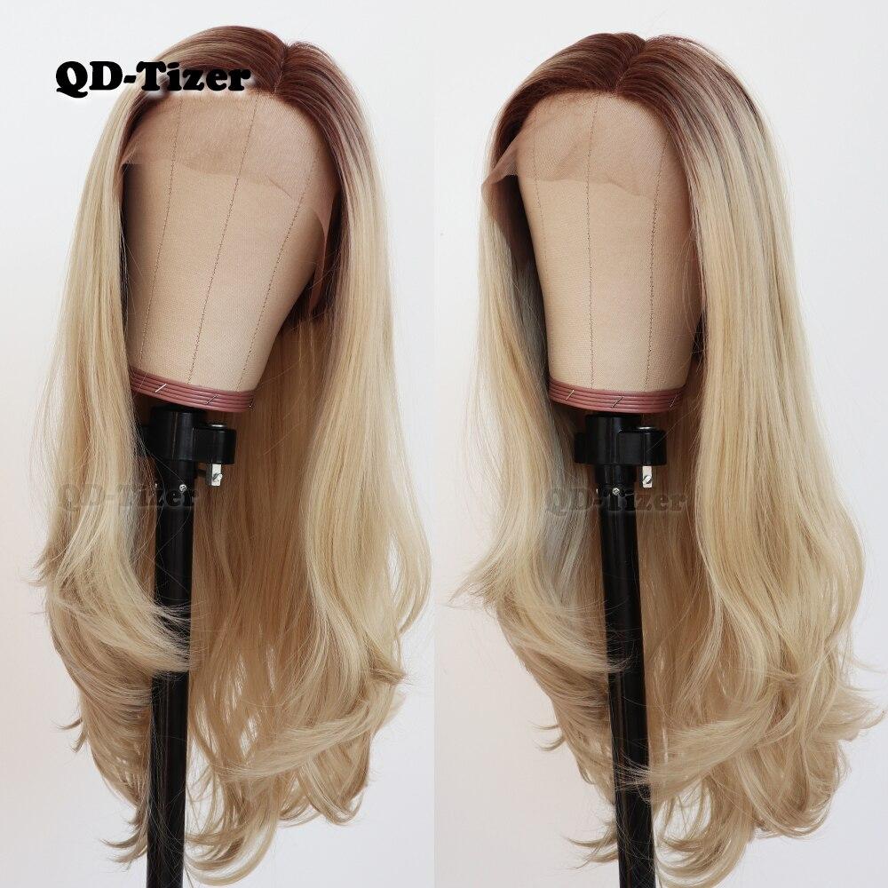 Qd-tizer cheveux ondulés naturels Blonde Ombre longue dentelle perruques sans colle résistant à la chaleur synthétique avant de lacet perruques pour les femmes noires