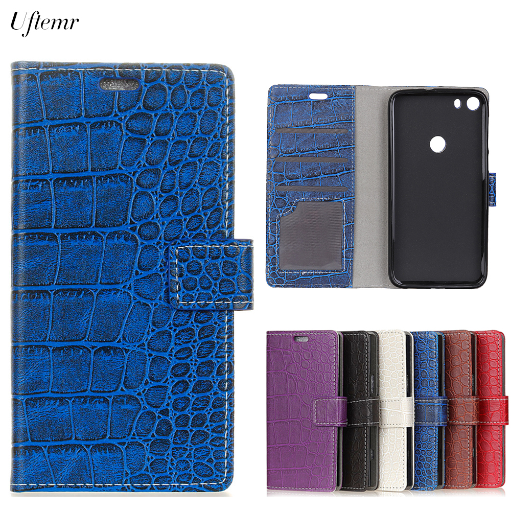 Uftemr Vintage Crocodile PU Leather Cover For Alcatel IDOL 5 I DOL5 Protective Silicone Case Wallet Card Slot Phone Acessories