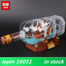 Lepin 16051 lepin Ship in a Bottle Movie Series 21313 Set Pirates of Caribbean Building Blocks Bricks Birthday Christmas Gifts(China)