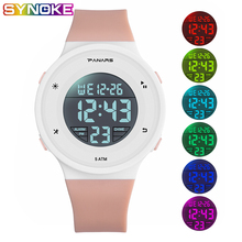 PANARS Kid Digital Watches Sports Children Waterproof LED Colorful Luminous Multifunctional Boy Girl Student Plastic Pink Clock