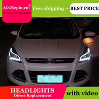 AUTO.PRO xenon H7 headlights for ford kuga 2013 14 15 car styling LED guide DRL HID Kit Q5 bi xenon lens headlamps for ford kuga
