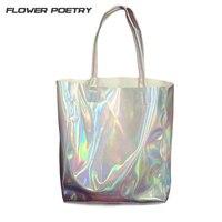 2016 HARAJUKU Preppy Style Brief Women Vintage Handbag Laser Silver Hologram Shoulder Bag Big Capacity Handbag
