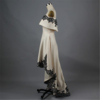 2015 New Arrival Hot Sale Fashion Sexy High Low Black Lace White Evening Dress Dress Formal