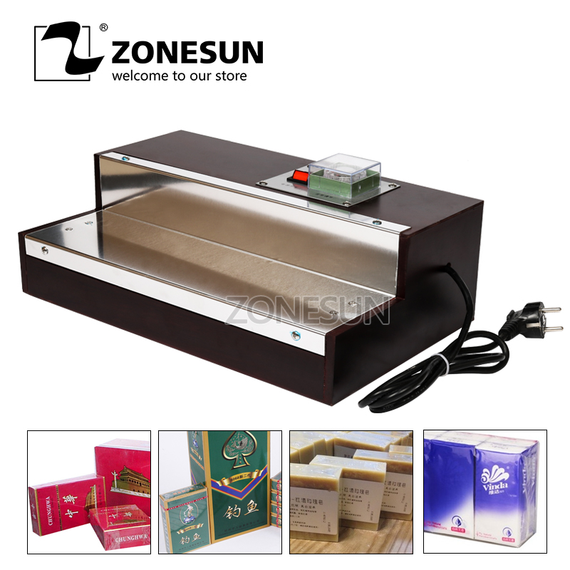 ZONESUN Iphone Film Heat Shrink Wrapping Machine For Perfume Box Cigarettes Cosmetics Poker Box Blister Film Packaging Machine