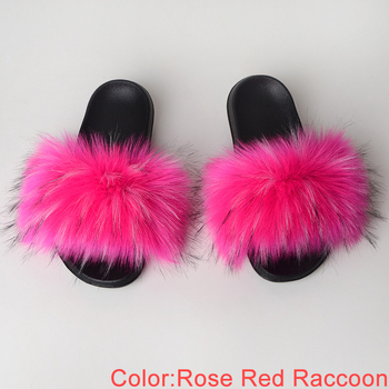 Faux Fur Slides Women Summer Slippers Home Shoes Woman Faux Fur Sandals Female Fashion 2019 Size 36 37 38 39 40 41 42 43 44 45 2