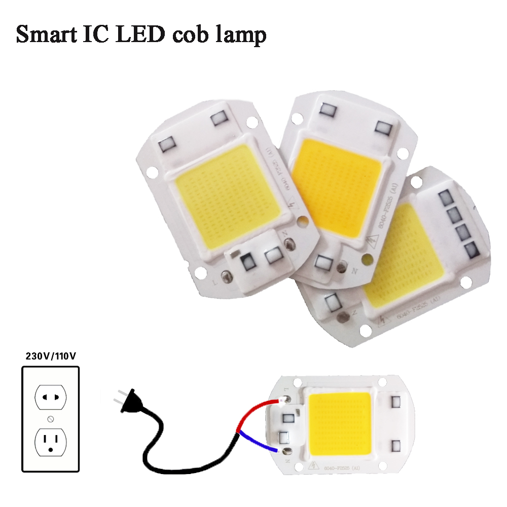 LED COB Lamp Chip 5W 20W 30W 50W 220V Input Smart IC Driver Fit For DIY LED Floodlight Spotlight Cold/Warm White [mingben] led cob chip 20w 30w smart ic 220v 110v input ip65 integrated driver easy to diy for floodlight cold white warm white
