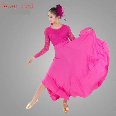 Standard Ballroom Dance Dresses 2019 High Quality Lace Sleeve Flamenco Dancing Skirt Women Cheap Stage Waltz Ballroom Dress