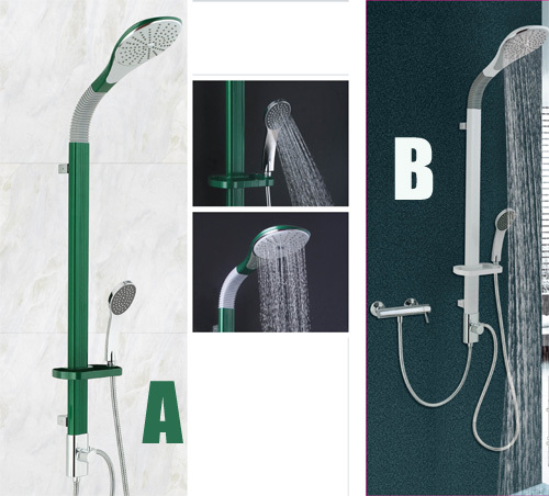 aluminium alloy shower column green and white color easy to install shower panel bathroom shower system