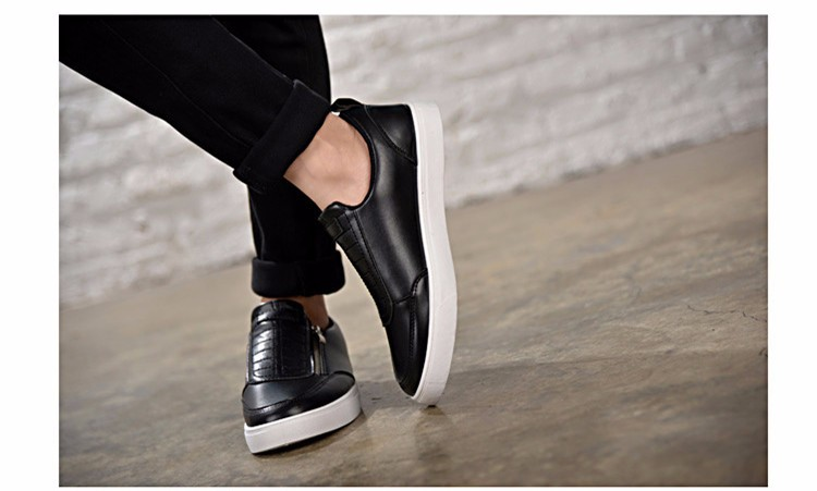 BODNSN Casual Men\'s Skate Shoes Zip Leather Flats 2016 New Solid Round Toe Men\'s Flat Shoes Breathable Fashion Man Shoes PX43 (10)