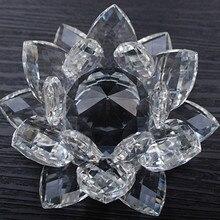 80 мм фэн-шуй кварцевый кристалл Цветок Лотоса Ремесел Стекло для стопки визиток с орнаментом статуэтки Home Свадебная вечеринка декора подарки сувенир