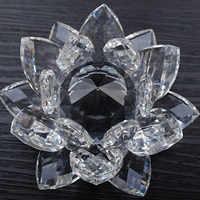 80 mm Feng shui Quartz cristal Lotus fleur artisanat verre presse-papiers ornements Figurines maison mariage fête décor cadeaux Souvenir