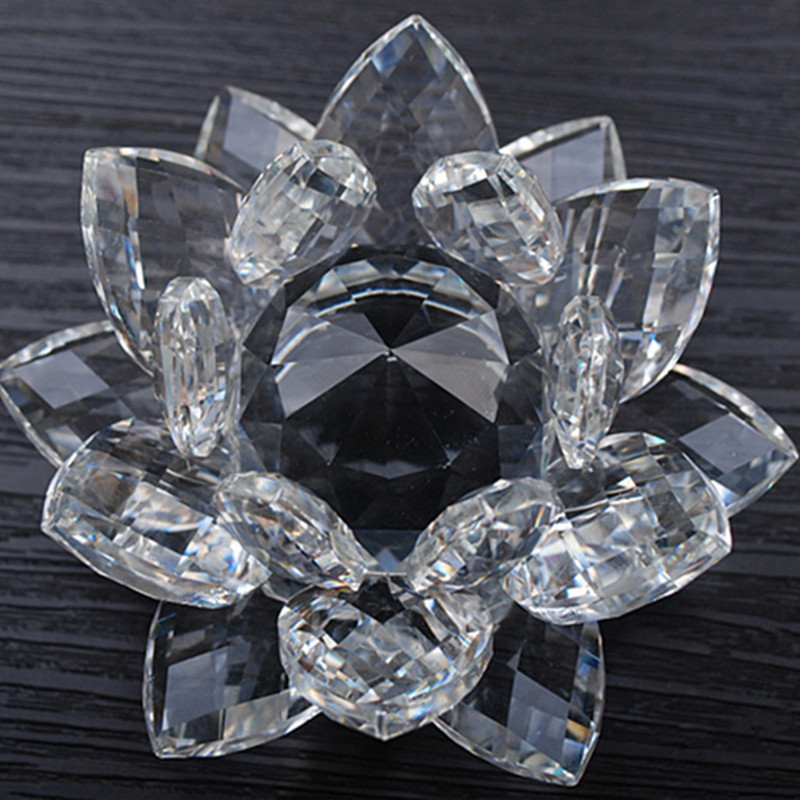 80mm Feng shui Quartz cristal Lotus fleur artisanat en verre presse-papiers ornements Figurines maison de mariage fête décor cadeaux Souvenir
