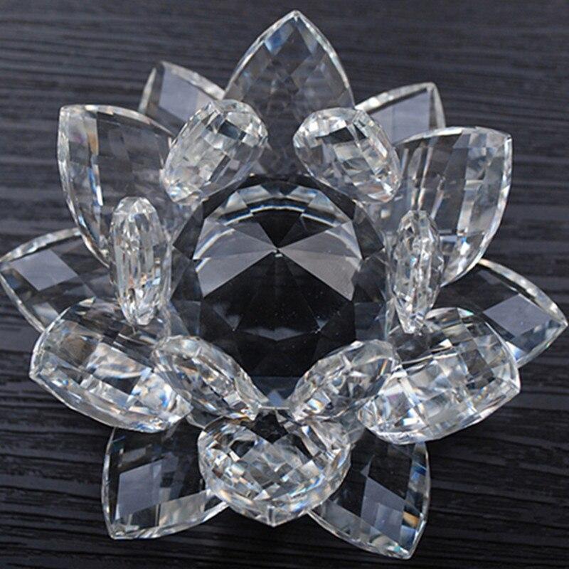 80mm Feng shui cristal de cuarzo flor de loto artesanía pisapapeles de cristal Figurines decoración de boda inicio regalos de recuerdo