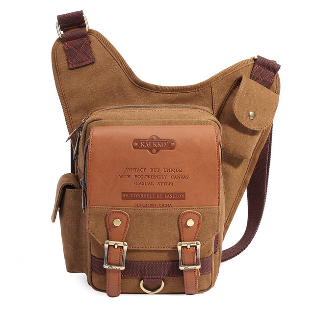 Men s Chest Canvas Bag Shoulder Bag Sling Pack coffee Canvas Crossbody Bags  for Riding Mountaineering Travel Satchel Chest Pack bf93849df83a8