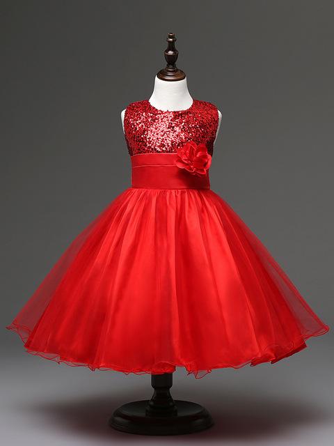 Moda longitud de la rodilla de lentejuelas niños muchachas de la flor roja vestidos de fiesta 3 años