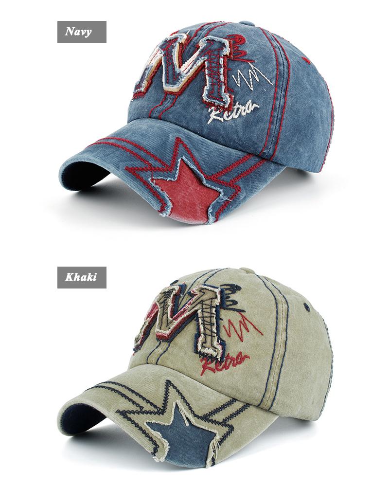 "Embroidered ""M"" Baseball Cap - Blue and Khaki Angle Views"