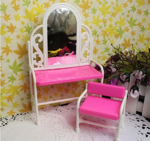 2016 Kids play house toys Doll Accessories Handmade Dolls Plastic dresser&chair set For Barbie Dolls,girls gift