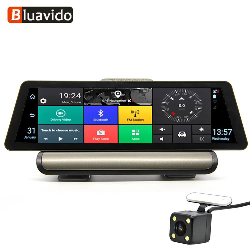 Bluavido 10 Pouces 4G Android dvr de voiture 1080 P caméra vidéo navigation gps ADAS Full HD Caméscope Bluetooth WiFi Double objectif Dashcam