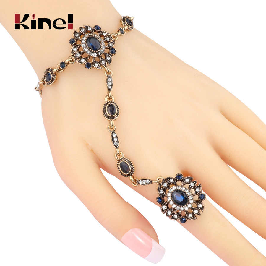 Kinel Turkish Jewelry Set Blue Main Stone Bracelet Link Ring For Women Antique Gold Mosaic Crystal Vintage Wedding Jewelry