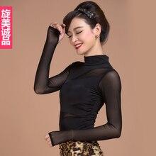 Sala balowa Sexy nowoczesny długi rękaw Latin taniec odzież top dla kobiet/kobiet/dziewczyna/pani, nowy modny kostium wydajność nosi