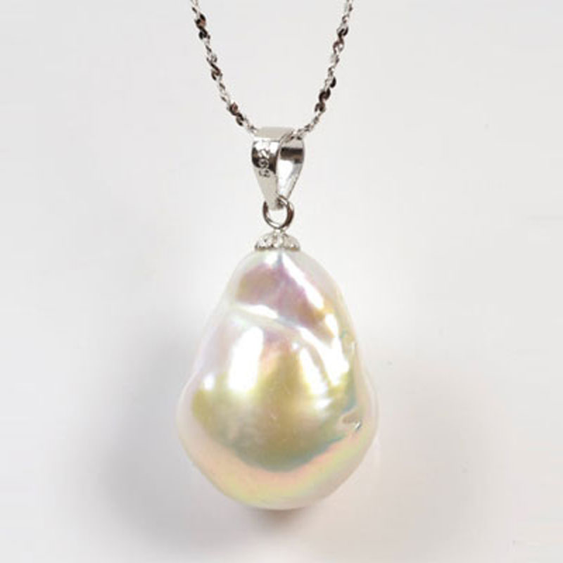 18 inches 14x20mm White Large FireBall Baroque Pearl Pendent Neklace with 925 Sterling Silver Chain and Bail