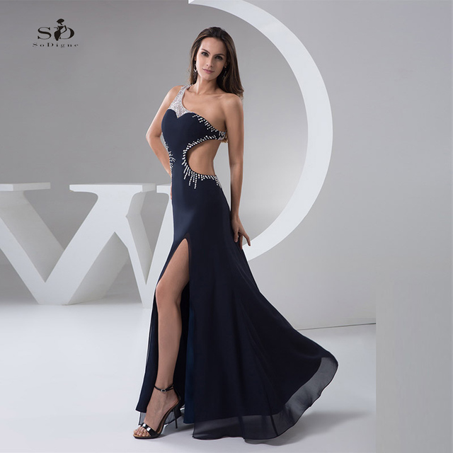 Black Prom Dresses Sexy Beaded One shoulder Side Slit Backless Prom ...
