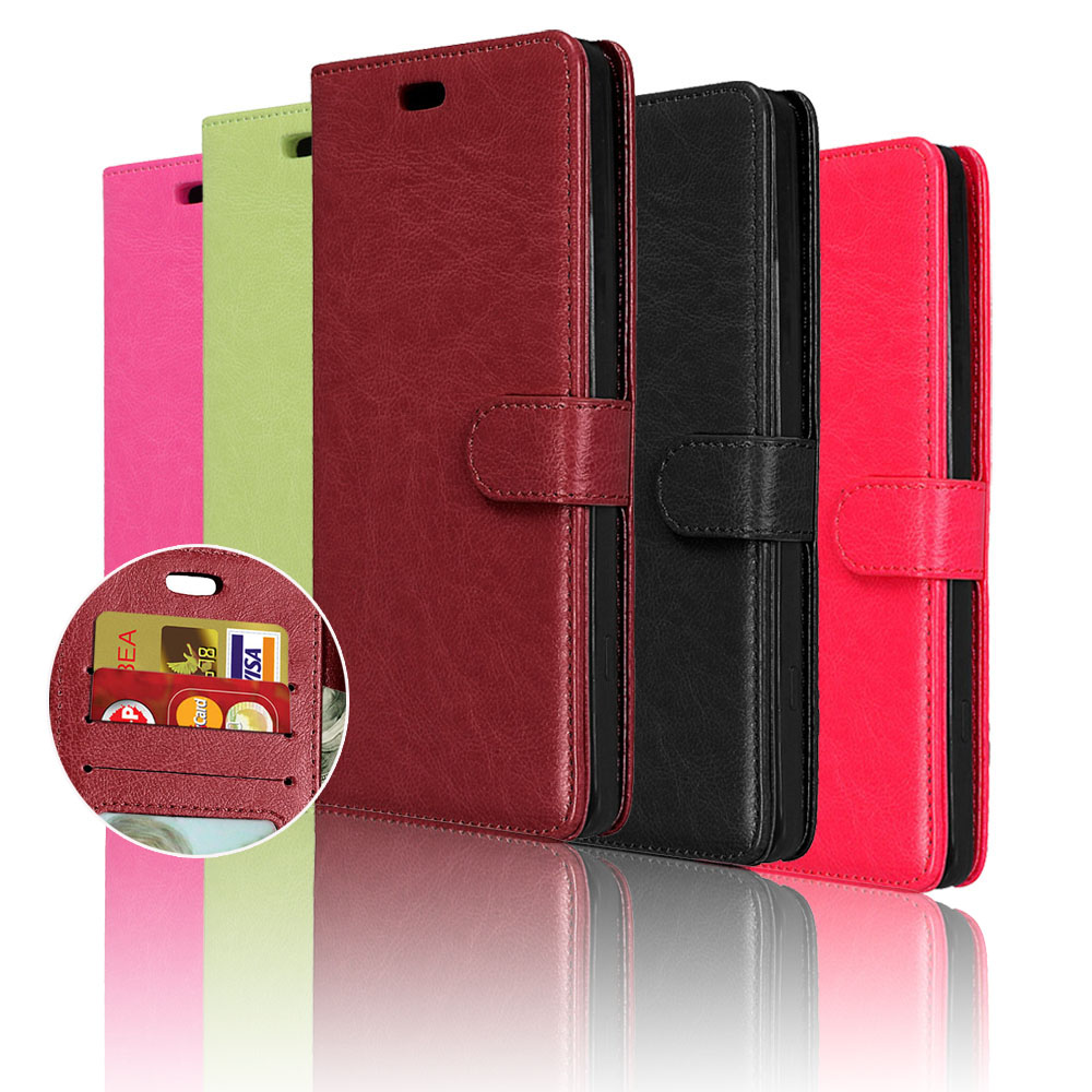 e794c1fd3 Para Alcatel One Touch fierce XL 5054n lujo teléfono cubierta de la  cubierta del cuero del tirón libro de la carpeta con la tarjeta de crédito  titular coque